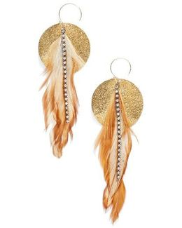 Feather Disk Drop Earrings