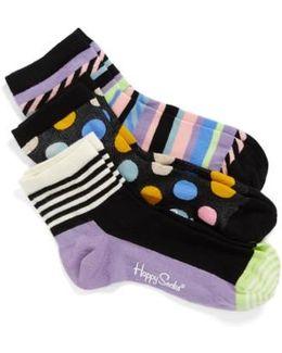 Assorted 3-pack Ankle Socks, Black