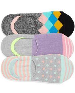 Assorted 3-pack Liner Socks, Grey