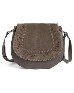 Kirie Suede & Leather Crossbody Saddle Bag
