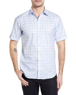 Shaped Fit Tonal Plaid Short Sleeve Sport Shirt