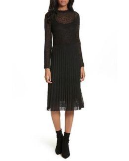 Lace Plisse Pleated Midi Dress