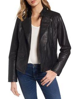 Jetta Asymmetrical Zip Leather Jacket