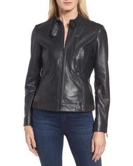 Jetta Knit Detail Leather Scuba Jacket