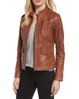 Kerwin Pocket Detail Leather Jacket