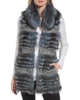 Knit Vest With Genuine Fox Fur Trim
