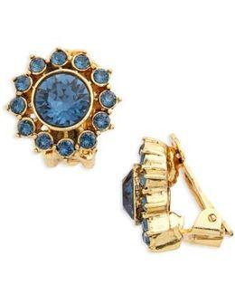 Crystal Starburst Clip Earrings