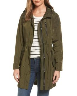 Hooded Drawstring Long Coat