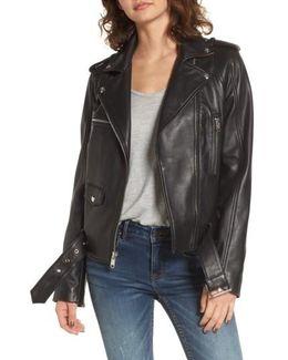 Contrast Trim Leather Moto Jacket