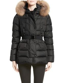 Clio Belted Down Puffer Coat With Removable Genuine Fox Fur Trim
