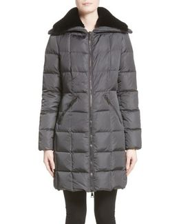 Davidia Quilted Down Coat With Removable Genuine Lamb Fur Collar