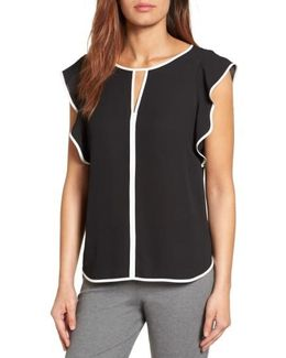 Contrast Piped Keyhole Blouse