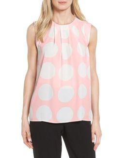 Pleat Polka Dot Blouse