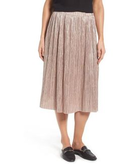 Pleat Foiled Knit Skirt