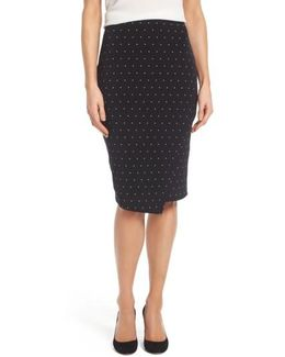 Pin Dot Faux Wrap Skirt