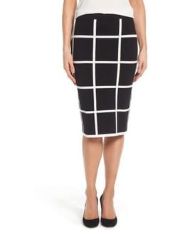 Windowpane Sweater Knit Skirt