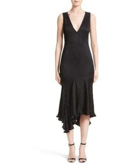 Satin Jacquard Asymmetrical Dress