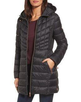 Hooded Packable Down & Primaloft Coat, Black
