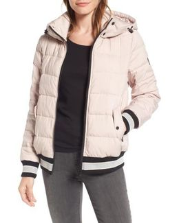 Micro Touch Hooded Quilted Bomber Jacket