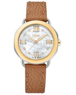 Selleria Mother Of Pearl Leather Strap Watch
