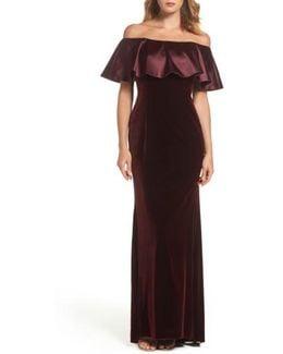 Ruffle Off The Shoulder Velvet Gown
