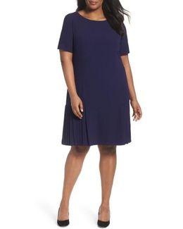 Pleat Crepe A-line Dress