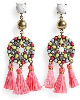 Mosaic Tassel Drop Earrings