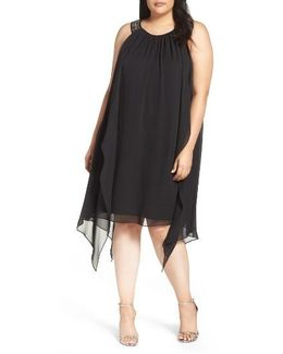 Embellished Handkerchief Hem Trapeze Dress