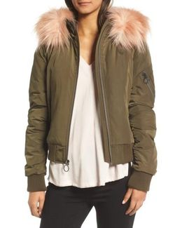 Faux Fur Trim Puffy Bomber Jacket