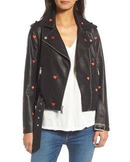 Heart Embroidered Faux Leather Moto Jacket
