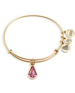 Birthstone Expandable Wire Bangle With Swarovski Crystal