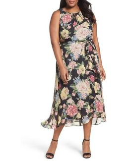 Floral Cutaway Chiffon Maxi Dress