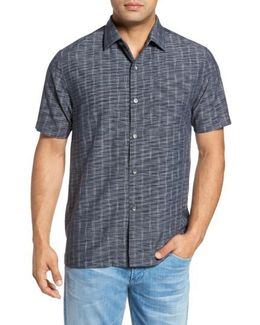 Seismic Stripe Regular Fit Silk Camp Shirt