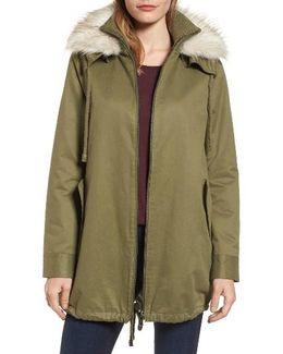 Faux Fur Collar A-line Anorak