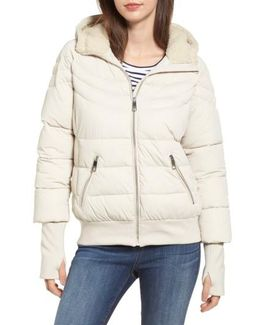 Oversize Hooded Puffer Jacket With Knit & Faux Shearling Trim