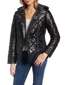 Reversible Packable Asymmetrical Quilted Jacket, Black