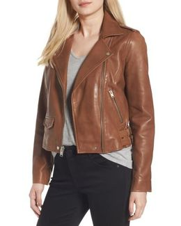 Wesley Washed Leather Biker Jacket