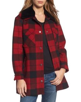 Cheyenne Plaid Wool Blend Coat With Faux Shearling Collar