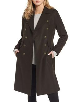 Long Wool Blend Military Coat