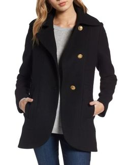Back Belt Wool Blend Peacoat