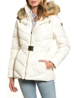 Belted Down & Feather Fill Coat With Faux Fur Trim Hood
