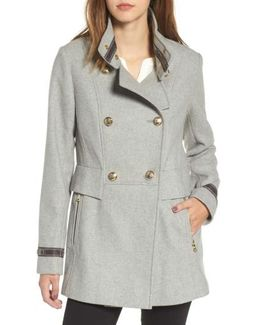 Wool Blend Military Coat
