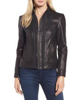 Braid Detail Leather Jacket