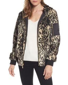 Reversible Hooded Faux Fur Bomber Jacket
