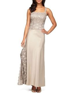 Sequin Lace & Satin Gown With Jacket