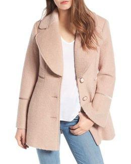 Velvet Trim Bell Sleeve Coat