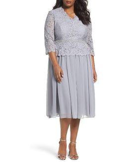 Embellished Mock Two-piece Tea Length Dress