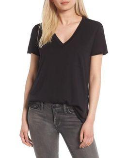 Raw Edge Side Slit T-shirt