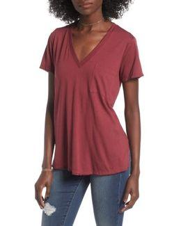 Raw Edge Side-Slit T-Shirt