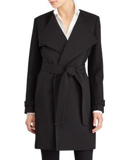 Flap Detail Crepe Wrap Coat